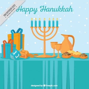 Flat background with hanukkah objects and snow