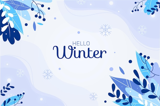 Flat background with hello winter message