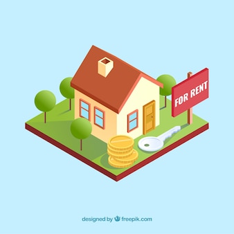Flat background with a house for rent
