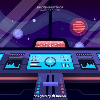 Flat background with interior design of spaceship