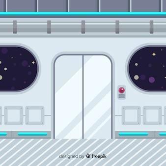 Flat background with interior design of spaceship