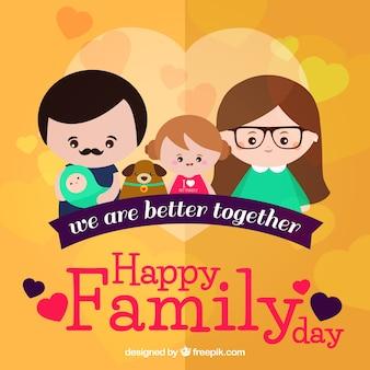 素敵な家族と心の平らな背景