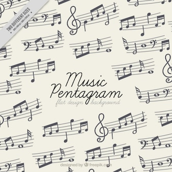 Flat background with music pentagrams