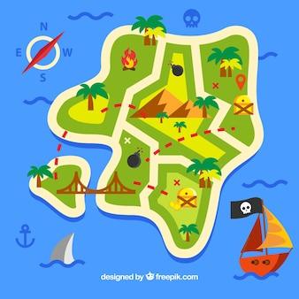 海と海賊の宝の地図と平らな背景