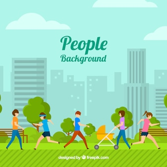 Flat background with people training in the park