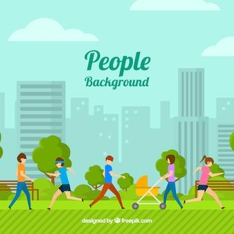 公園で人々のトレーニングと平らな背景