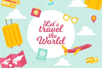Flat background with plane and travel items