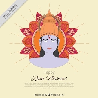Flat background with ram navami and ornamental decoration