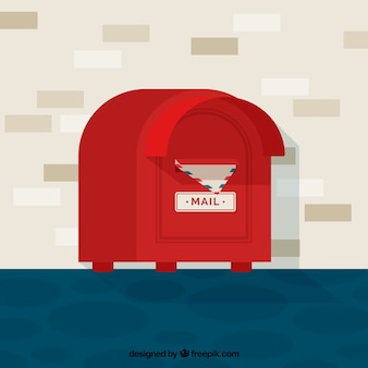 Flat background with red mailbox