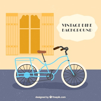 Flat background with retro bicycle