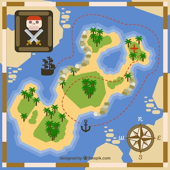 Flat background with route for pirate treasure