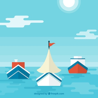 Flat background with sea and variety of boats