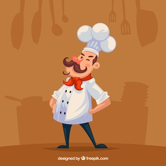 Flat background with silhouettes and chef