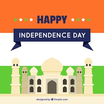 Flat background with taj mahal of india independence day