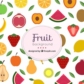 様々な果物を持つ平らな背景