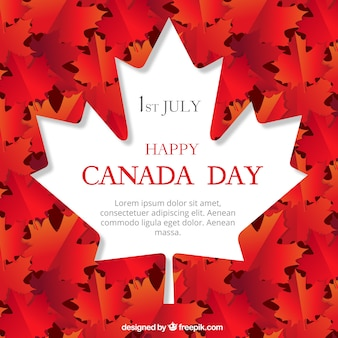 Flat background with white leaf for canada day
