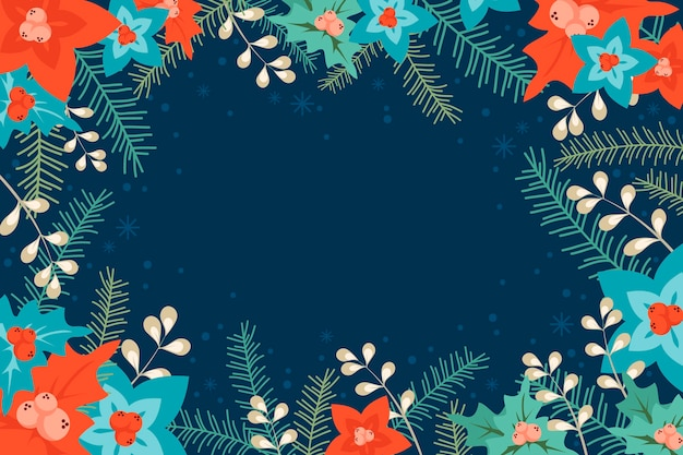 Flat background with winter flowers