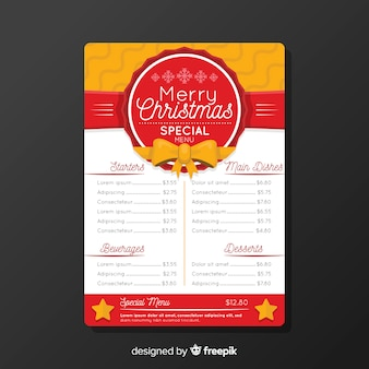 Flat badge christmas menu template
