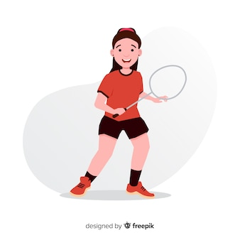 Flat badminton player with a racket