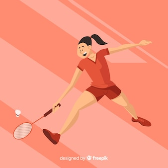 Flat badminton player with racket
