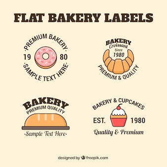 Flat bakery labels in vintage style