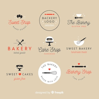 Плоские хлебобулочные логотипы
