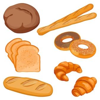 Плоские пекарни в мультяшном стиле, плоский цвет дизайна, изолированные на белом. иллюстрация коричневого томми, нарезанный хлеб, батон, два багета, булочки с маком и кунжутом, свежие круассаны.