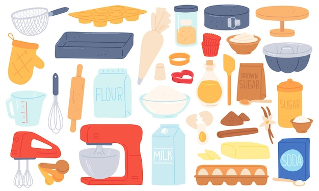 Flat baking ingredient, kitchen utensil and food product. mixer, rolling pin, brown sugar flour and butter. cooking pastry recipe vector set. illustration of preparation ingredient sugar and soda