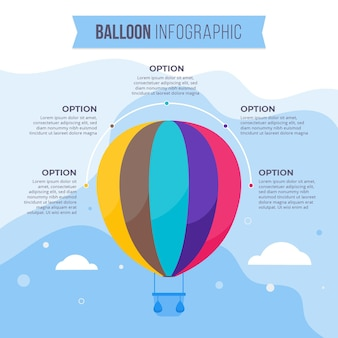 Flat balloon infographic concept