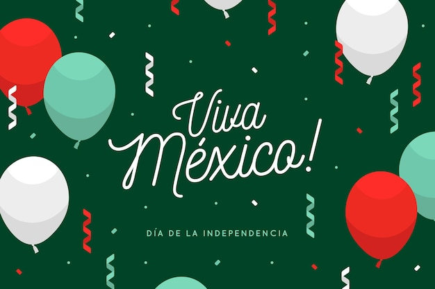 Flat balloons on independence day of mexico background