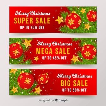 Flat balls christmas sale banner