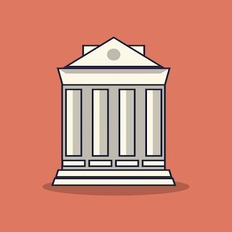 Flat bank building illustration