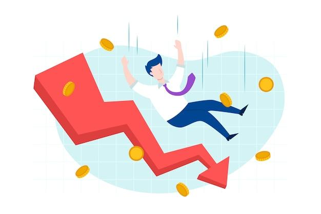 Flat bankruptcy crisis concept