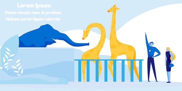 フラットバナー広告の刺激的な動物園の遠足。