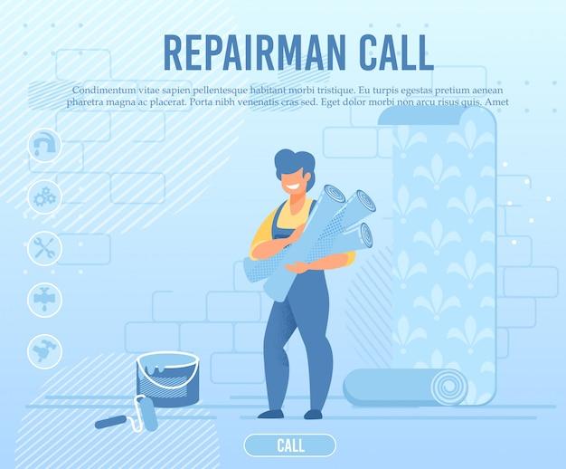 Flat banner advertising repairman call service