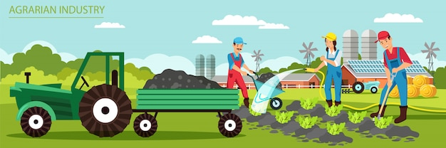 Flat banner agrarian industry vector illustration.