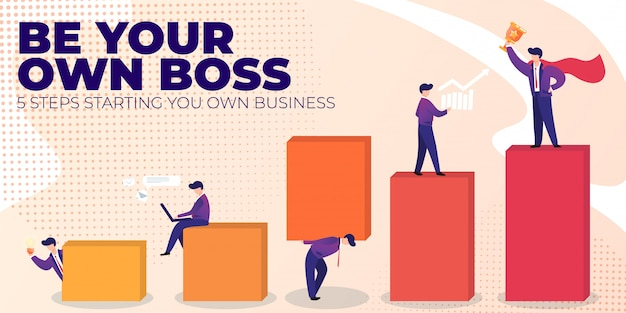 Flat banner be your own boss on pink background.
