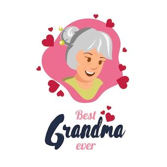 Flat banner best grandma ever happy elderly woman.