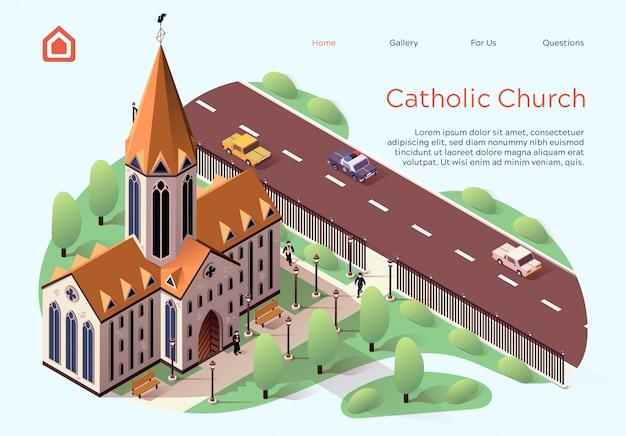 Flat banner catholic church lettering cartoon.