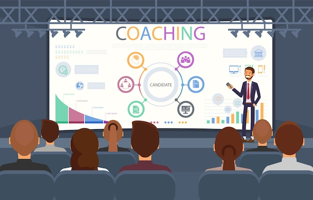 Flat banner coaching seminar recruitment agencies.