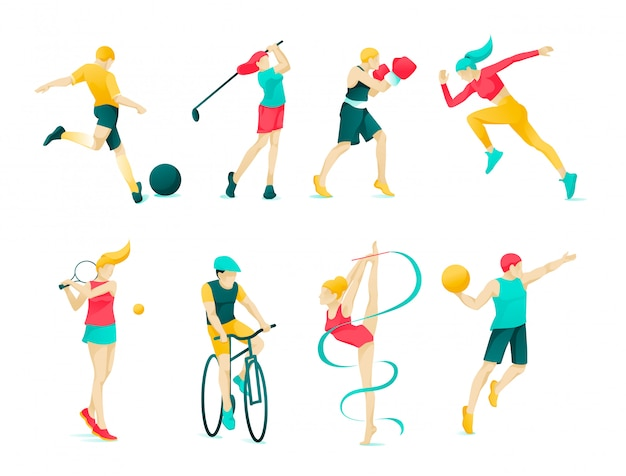 Flat banner collection sports character people.