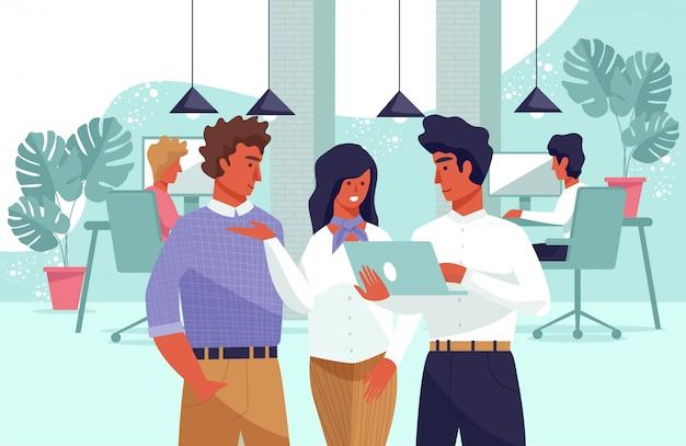 Flat banner community молодые люди на рабочем месте.