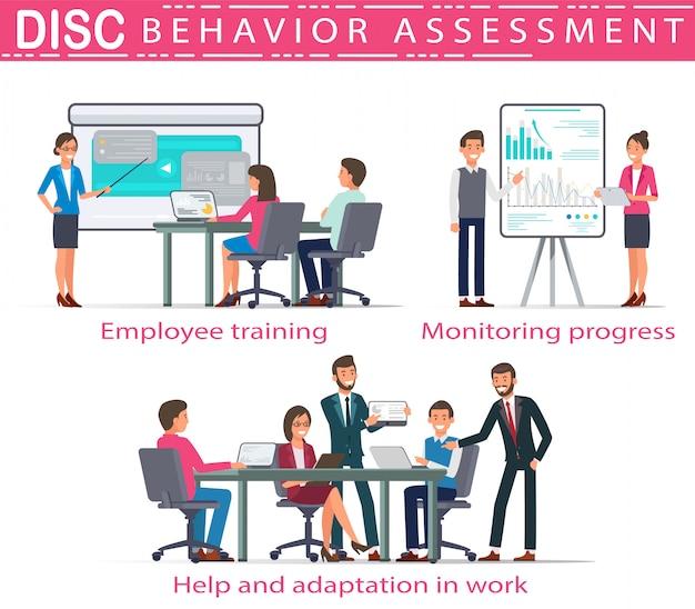 Flat banner disc behavioral assessment vector.