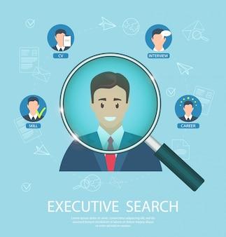 Flat banner executive search success closing job.