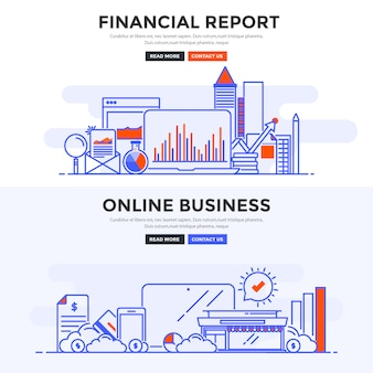 Flat   banner financial report and online business