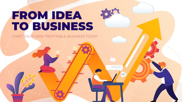 Flat banner from idea to business entrepreneurship