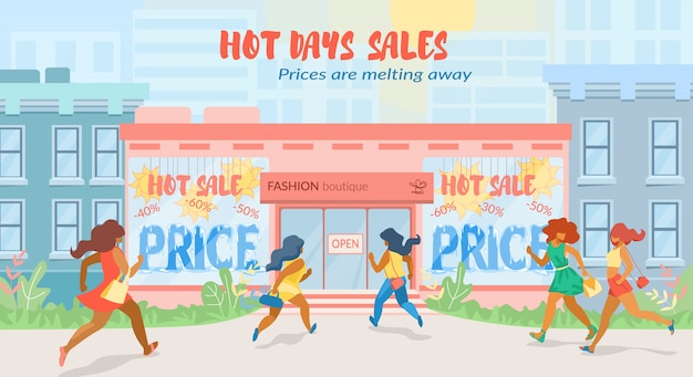 Flat banner hot days sales in fashion boutique