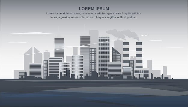 Flat banner illustration gray panorama cityscape