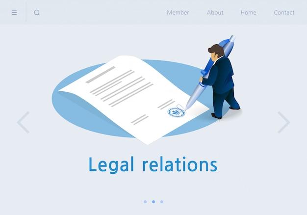 Flat banner inscription legal relations isometric.