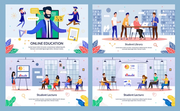 Flat banner inscription online education, slide.